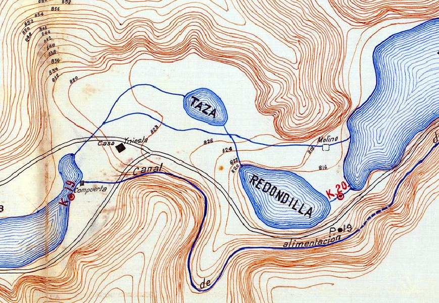 Canal de la central hidroeléctrica de Santa Elena en 1916