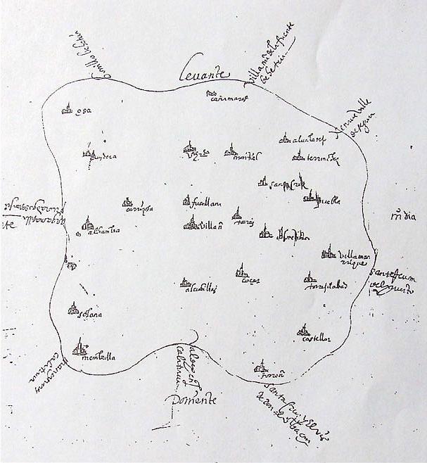 Ossa de Montiel en un dibujo de las respuestas de las Relaciones Topográficas de Felipe II del año 1575