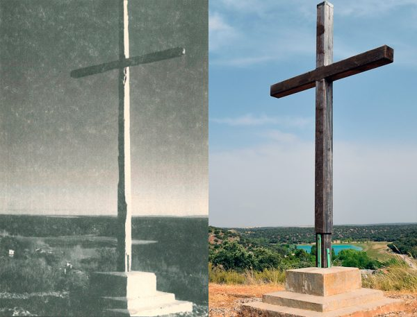 Antigua y nueva cruz de las Monjas