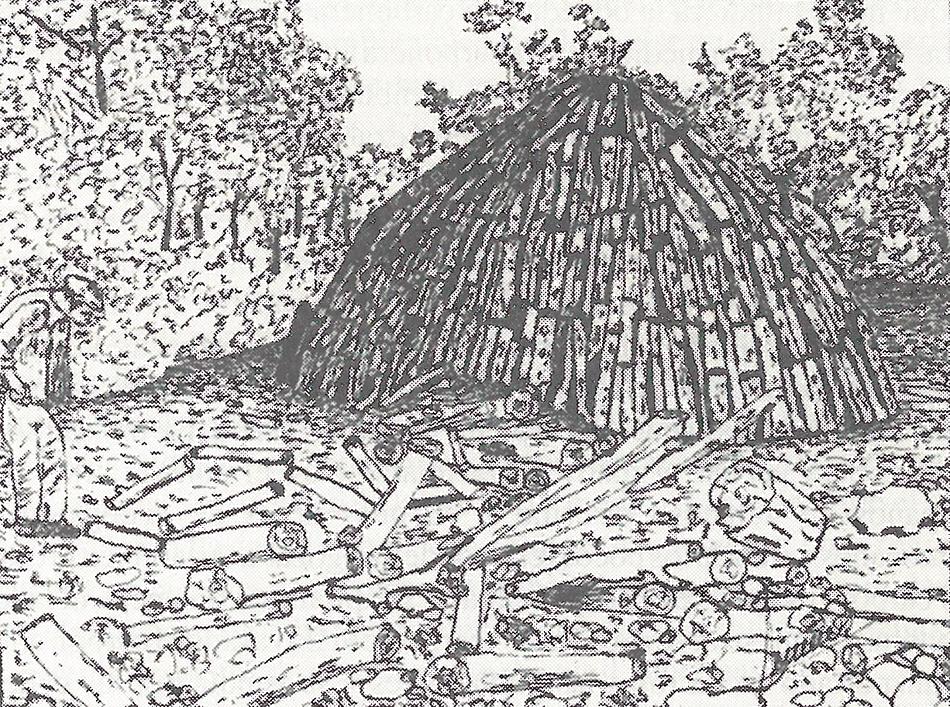 Dibujo de una carbonera tradicional