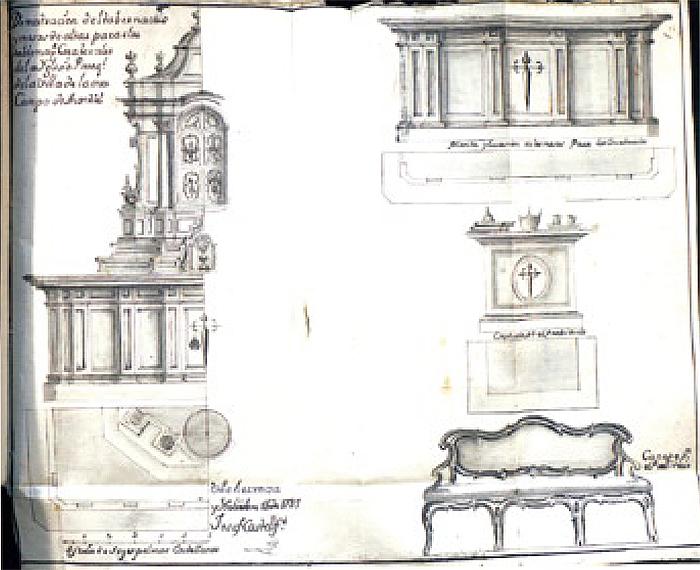 Proyecto para el retablo mayor de Santa María Magdalena, iglesia de Ossa de Montiel, 1787